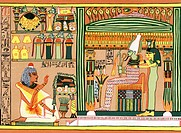 This scene is from a scroll found in the tomb of an ancient Egyptian named Ani (pictured far left), an official at court during the 19th Dynasty - New...