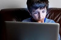 Boy ,6-7,on laptop computer.