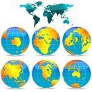 world globes against white