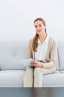 Serious female financial adviser si