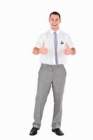 Portrait of an office worker with the thumbs up
