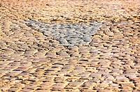 Granite cobblestone pavement detail