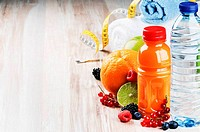 Fresh fruit juice and fitness accessories
