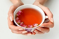 hands that hold a cup of tea from the flowers of roses
