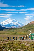 Tourist viewing Mt. McKinley from Stony Hill Overlook, Denali National Park, Interior Alaska