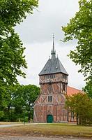 Historic half-timbered church St. Mariae (1618/1864) in Tripkau, Amt Neuhaus, Unesco Biospere reserve, Lower Saxony, Germany. .