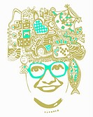Abstract smiling woman in glasses