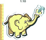 Baby height measure with funny elephant (vector in original proportions 1:10; jpeg - 1:3)