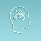 Gears on brain, vector illustration