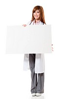 Asian doctor woman holding blank board, full length portrait isolated on white background.