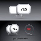 Set of realistic glass speech bubbles. Vector illustration.