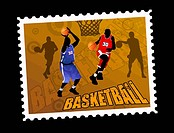 Postal basketball stamp