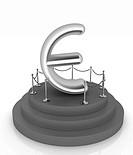 Euro sign on podium. 3D icon on white background