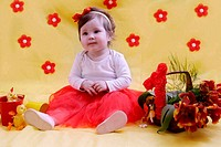Baby girl anniversary in red and yellow decor