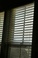 Window with open blinds.