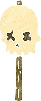 retro cartoon spooky skull sign