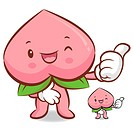 Peach Mascot the Right hand best gesture. Fruit Character Design Series.