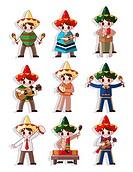 cartoon Mexican music band icon set
