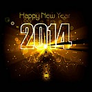 New year for 2014 text colorful wave background illustration vector design