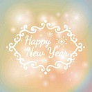 Happy New Year on colorful lights Background.