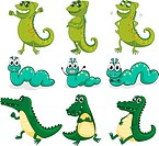 A caterpillar, a chameleon and a crocodile