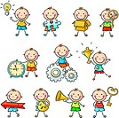 Cartoon little boy with different o