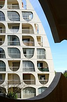 Building in the resort town of La Grande Motte, Architect: Jean Balladur, Languedoc-Roussillon, France, Europe.