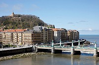 Kursaal Bridge and San Sebastian Monte Urgull