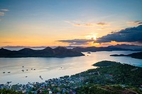 Sunset from Mount Tapyas View Deck over the Calamian Islands, Busuanga Island, Palawan, Philippines.