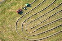 Aerial view of tractor making patterns in Harford County, Maryland.