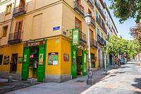 Typical tavern in Las Huertas street. Madrid, Spain.