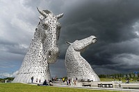 The Kelpies sculpture of two horses at entrance to the Forth and Clyde Canal at The Helix Park near Falkirk, Scotland.
