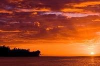 Sunset on the North Shore, Island of Kauai, Hawaii.