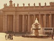 Vatican post office and fountain in Piazza San Pietro, Rome, Lazio, Italy, Europe.