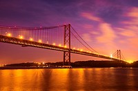 The 25 April Bridge over the River Tagus in Lisbon, Portugal.