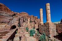 Theatre, Petra Archaeological Park (a UNESCO World Heritage Site), Petra, Jordan.