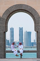 Two local men at the Museum of Islamic Art in Doha Qatar.