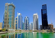 Daytime skyline view of modern high-rise office and apartment buildings at JLT, Jumeirah Lakes Towers in Dubai United Arab Emirates.
