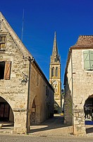 Eymet with steeple of Notre-Dame Church, Dordogne Department, Aquitaine, France.