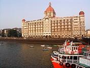 Taj Mahal Palace and Tower or Taj Mahal Hotel on waterfront Colaba Mumbai India.