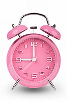Pink alarm clock with the hands at 9 am or pm isolated on a white background.