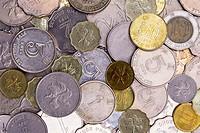 Close up of Hong Kong, China money in coins.