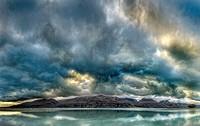 Cloudscape panorama at dusk over Ben Ohau Range, Lake Tekapo, Mackenzie country, Canterbury, New Zealand.