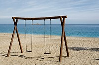 A swing view on Carboneras beach, Almería province, Spain