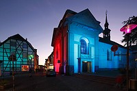 "D-Recklinghausen, Ruhr area, Westphalia, North Rhine-Westphalia, NRW, """"Recklinghausen leuchtet"""", festival illumination in the historic downtown, Gym..."