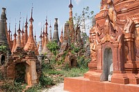 Hundreds of ancient pagodas cover a hillside at Indein near Inle Lake.