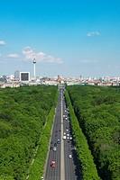 Skyline of Berlin and Tiergarten park towards Brandenburg Gate in Germany.
