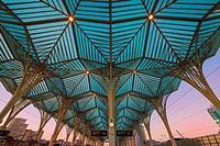 Oriente train station at sunset, Parque das Nações, Lisbon, Portugal.
