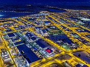 Top view of roads, homes, buildings at twilight, wintertime, Reykjavik, Iceland. This image is shot with a drone.