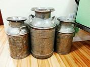 Large milk jugs.